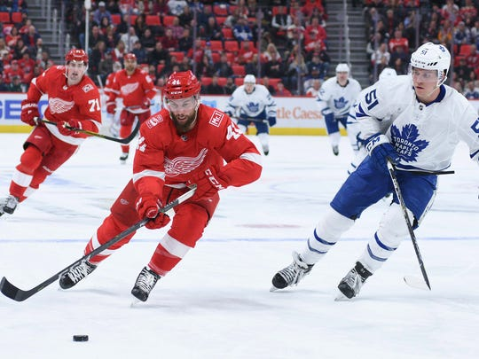 Red Wings right wing Luke Glendening was a favorite of former Wings coach Mike Babcock, who now coaches Toronto.