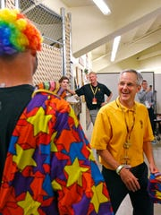 """Bill Kennedy, ASU's associate athletic director, organizes the skits that will appear in the """"Curtain of Distraction."""""""