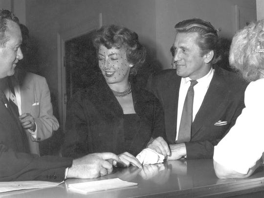 Kirk and Anne Douglas on their wedding day.