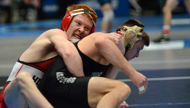St. Cloud State senior Jarred Oftedahl competes in the 141-pound bracket during Day 1 of the NCAA Division II wrestling championships at Upper Iowa University.