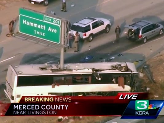 AP CALIFORNIA BUS CRASH A USA CA