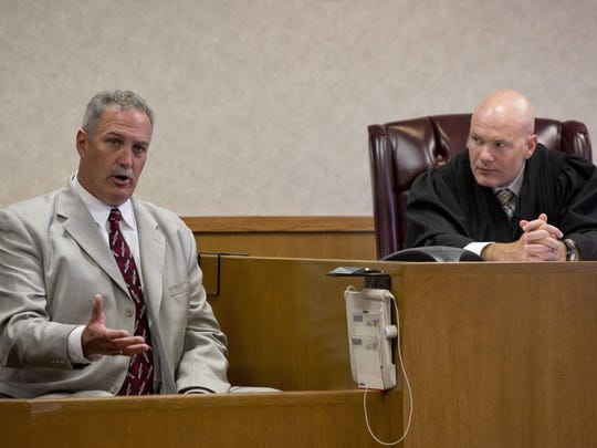 Port Huron Police Lt. Scott Pike speaks on the stand during a preliminary examination for Aaron Swift Tuesday, July 14, in the courtroom of Judge John Monaghan at the St. Clair County Courthouse.