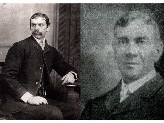 Hyrum S. Peterson (left) and William A. Burton were popular Mesa lawmen in 1909, but became adversaries when Burton accused Peterson of using excessive force when arresting Burton's son. A court trial found Peterson not guilty.