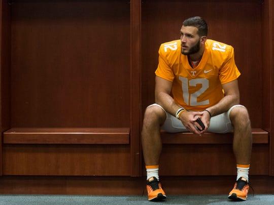 Tennessee quarterback Quinten Dormady (12) at his locker during Media Day.