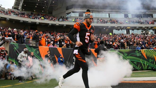 Cincinnati Bengals quarterback AJ McCarron (5) takes the field before the Week 8 NFL game between the Indianapolis Colts and Cincinnati Bengals, Sunday, Oct. 29, 2017, at Paul Brown Stadium in Cincinnati.