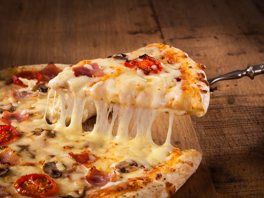 Slice of hot pizza