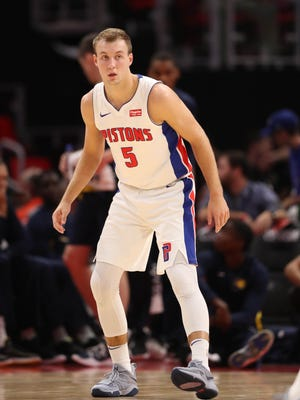 Pistons guard Luke Kennard plays defense during the first period of the 107-97 exhibition win over the Pacers on Monday, Oct. 9, 2017, at Little Caesars Arena.