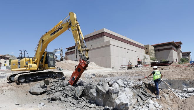 UTEP continues site work where they will build the new Interdisciplinary Research Building at the corner of Sun Bowl Drive and University.