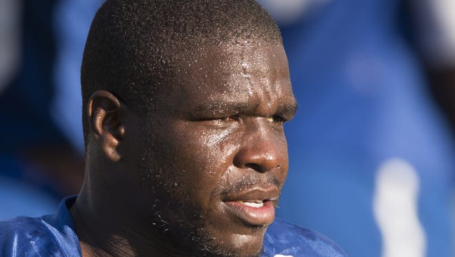 Frank Gore, running back, at Colts Camp at Anderson University, Anderson, Thursday, Aug. 11, 2016.