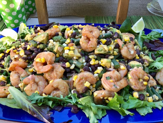 Shrimp, black beans, green beans, corn, avocado and