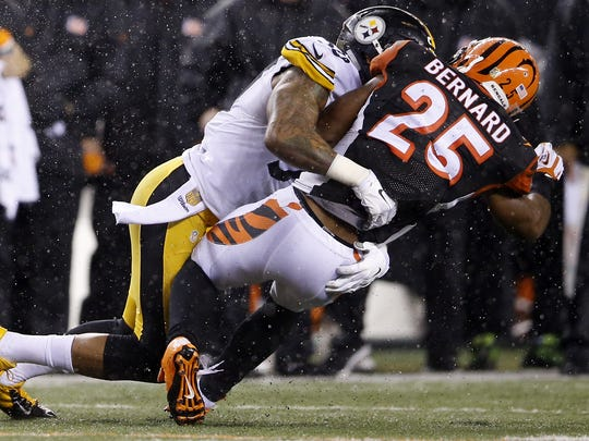 This play, in which Cincinnati Bengals running back Giovani Bernard was hit with the crown of the helmet of Pittsburgh Steelers inside linebacker Ryan Shazier, is now illegal.