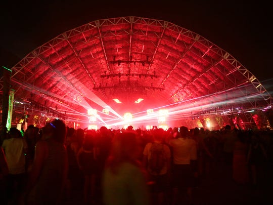 Fans at David Guetta's performance during the second Sunday of the Coachella Valley Music and Arts Festival in Indio.