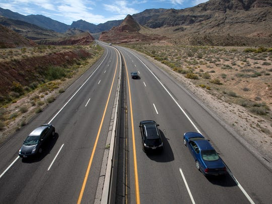 Traffic flows along Interstate 15 through the Virgin