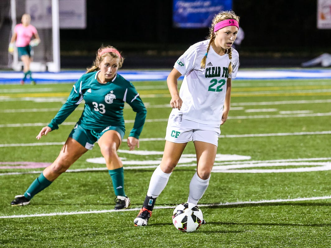 Clear Fork's Jordyne Helinski dribbles the ball against Parma Heights Holy Name during last year's 2-1 Division II regional semifinal girls soccer win at Brunswick. The All-Ohio forward returned for her senior year for the Colts but injured her knee in September and won't return to play this year.