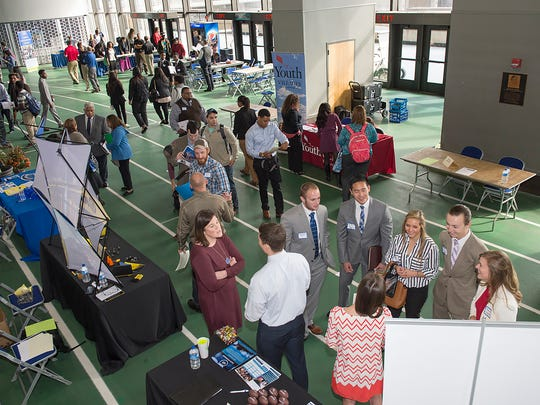 Organizers estimated that 750 students and alumni attended the MTSU Fall Career Fair held Thursday, Oct. 29, on the track level at Murphy Center. (MTSU photo by Andy Heidt)