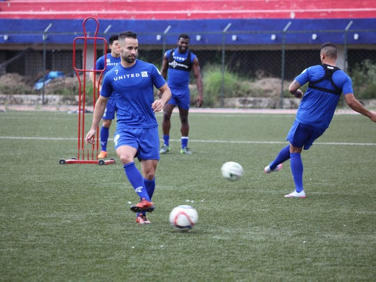 Guam's John Matkin engages in a training drill during a practice session with the Matao in Bangalore, India. The Matao is set to play India on Nov. 12 for its sixth match of the 2018 FIFA World Cup Russia and AFC Asian Cup UAE 2019 Preliminary Joint Qualification Round 2. The team will return to Guam for a Nov. 17 match against I.R. Iran.