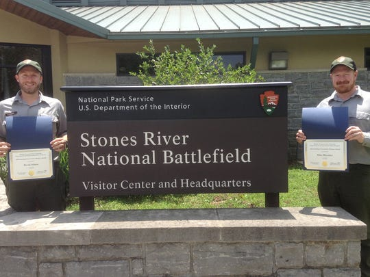 Pictured, from left, are David Adams and Mike Rhoades, rangers at Stones River National Battlefield in Murfreesboro. The rangers were selected to receive MTSU EXL Outstanding Community Service Awards for the 2014-15 academic year.