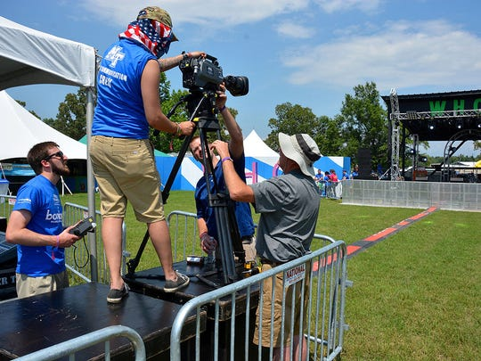 Students and instructors from MTSU's College of Mass Communication mount a center-stage camera at the Bonnaroo Music and Arts Festival's Who Stage in June.