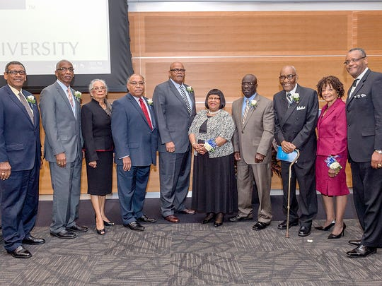 The 20th annual Unity Luncheon in the MTSU Student Union building ballroom featured guest speaker Judge Camille R. McMullen. Those honored included, from left, Joe Herbert, Robert D. James Sr., Marva Hudspeth, H. Bruce Maxwell, Ray Fite, Jo Anne Gaunt, Trailblazer Award recipient Cumbey Gaines, Russell D. Merriweather, Florine Ratliff and Albert Nelson.
