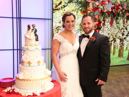 "Erath residents Brittney Reed and Hunter Tribe are married on ""The Rachael Ray Show"" in New York on Feb. 17."