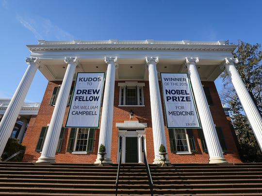 Banners outside Mead Hall welcome back Drew University associate fellow and 2015 Nobel Prize winner William Campbell to campus on March 3, 2016.