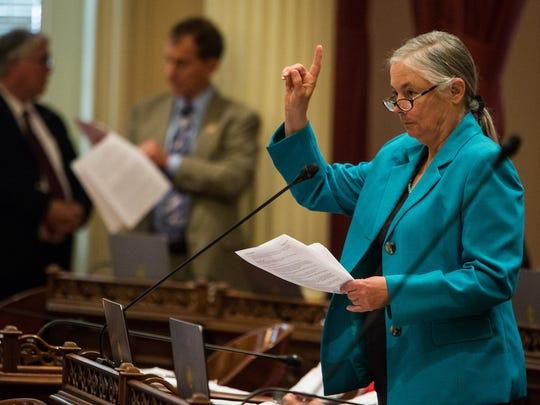 Senator Fran Pavley (D-Calabasas) in the Senate chambers, September 10, 2015 at the State Capitol in Sacramento, California.