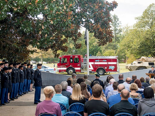 An Observance Ceremony to memorialize those fallen in the attacks to our nation on September 11, 2001. The service was held at MTSU's Veterans Memorial. Key speakers Lt. Gen.Keith Hubert and President Sidney A. McPhee.  Cadet Sara Crum (Senior, Chemistry major) provides the welcome address.