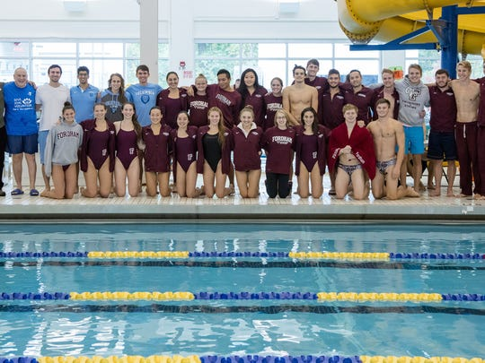 Somerset Hills YMCA Branch Executive, Marc Koch, and Saturdays in Motion founder Art Raynes of Basking Ridge show extreme gratitude to the collegiate swimmers who came to show their support of the program and to give mini-lessons to younger swimmers.