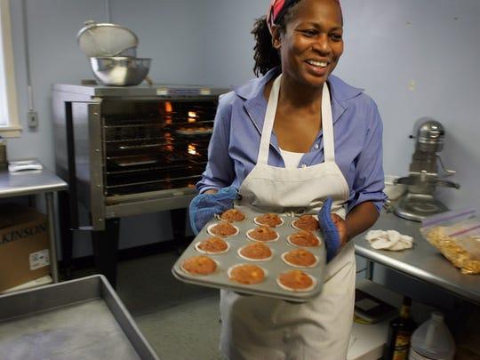 Angela Logan makes her signature homemade apple cakes