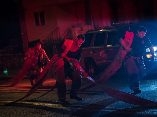 Crews respond to a residential fire in Hanover borough on Dec. 24.