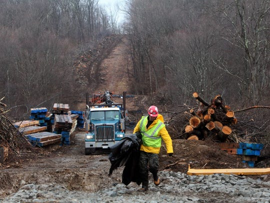 Construction of the Tennessee Gas pipeline through the protected New Jersey Highlands in 2013. The pipeline was built to allow more natural gas fracked from northern Pennsylvania to reach customers in the Northeast and elsewhere.