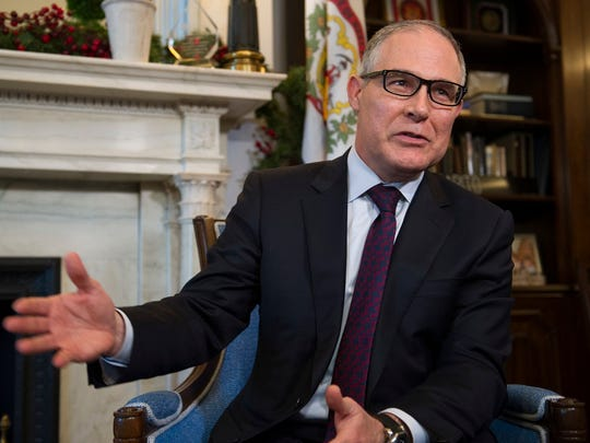 Environmental Protection Agency (EPA) Administrator-designate Scott Pruitt answer a reporter's question during his meeting with Sen. Shelley Moore Capito, R-W.Va., on Capitol Hill in Washington on Jan. 4, 2017.