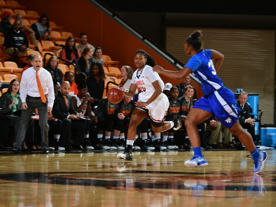 Former Aransas Pass player Brianna Cribb (20) leads Campbell in rebounds, assists and minutes played.