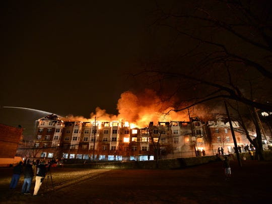 The Avalon at Edgewater apartment complex burning in January 2015.