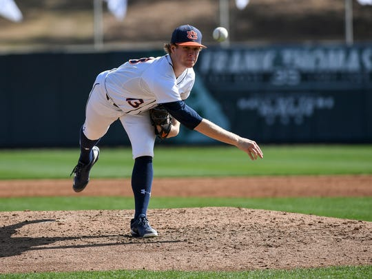 Auburn freshman pitcher Davis Daniel, a 2016 Montgomery Advertiser Pitcher of the Year, allows two runs in 4 1/3 innings Auburn baseball vs George Washington on Sunday, Feb. 19, 2017 in Auburn, Ala.