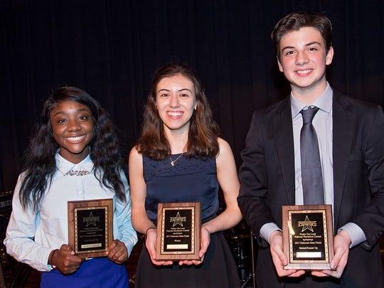 From a competitive field of 13 Delaware high school students, Cecilia Ergueta (center), a junior from Wilmington Friends School, earned the title of 2017 Poetry Out Loud Delaware State Champion at the state finals held in Smyrna Feb. 28. The first runner-up was Shalyn Littlejohn from Hodgson Vo-Tech High School and the second runner-up was Sam McGarvey from Tall Oaks Classical High School.