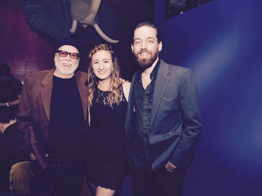 Singer-songwriter Margo Price is shown with her producer/engineer Matt Ross-Spang (right) and rockabilly great Billy Swan.