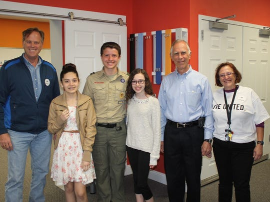 The 2016 Middle School Contest winners with community leaders. Freeholder and United Way Board Trustee Matt Holt (left) with United Way Middle School Essay Contest winners Alba Paz Sanchez, Hampton School; Cassondra Stoter, Califon School; Benji Beard, Califon School; Flemington Mayor Phil Greiner; and Bonnie Duncan, CEO of United Way of Hunterdon County.