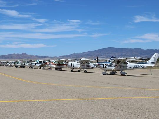 Planes line up at the Prescott, Arizona airport before