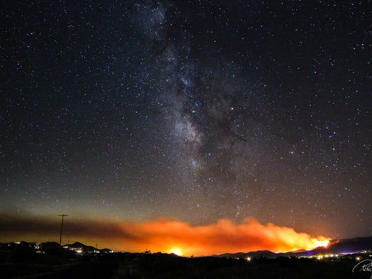 A view of the night sky with the Goodwin Fire still