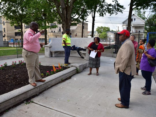 Community activists discuss how to improve Barbour Park in Paterson.