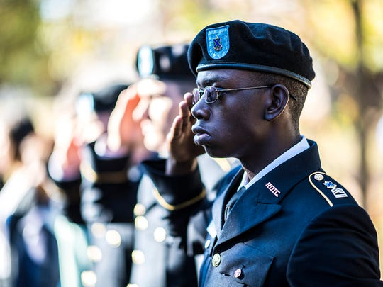 A member of the MTSU ROTC cadet corps stands at attention during the formal ceremony as part of Salute to Veterans and Armed Services events outside the Tom H. Jackson Building in this November 2016 file photo. The Veterans' Memorial Service at 2:30 p.m. kickso off the 2017 Salute to Veterans and Armed Services events Saturday, Nov. 4.