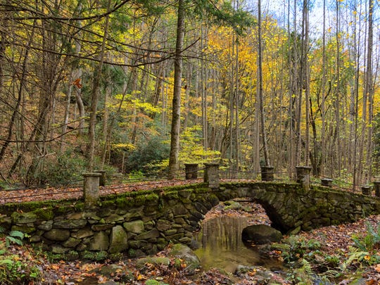 "This stone footbridge over Bearwallow Branch is commonly known as the ""Troll Bridge."" It's in the Elkmont Historic District off Little River Road in the Great Smoky Mountains National Park."