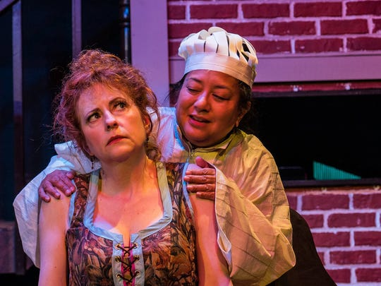 """Conseulo Aduviso (right, with Angela Poynter in 2017) is back for her fourth year in the cast of Key City Public Theatre's """"Spirit of the Yule."""""""