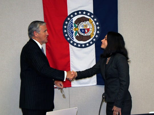 Two months ago, Claudia Oñate Greim was welcomed to the Missouri Board of Education by board president Charlie Shields.