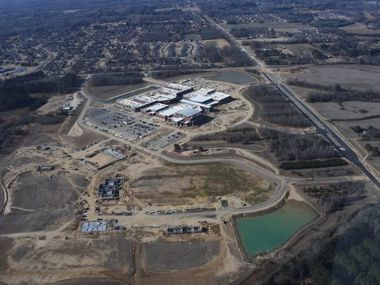 Aerial photo of the new  $94 million Collierville high school construction site.