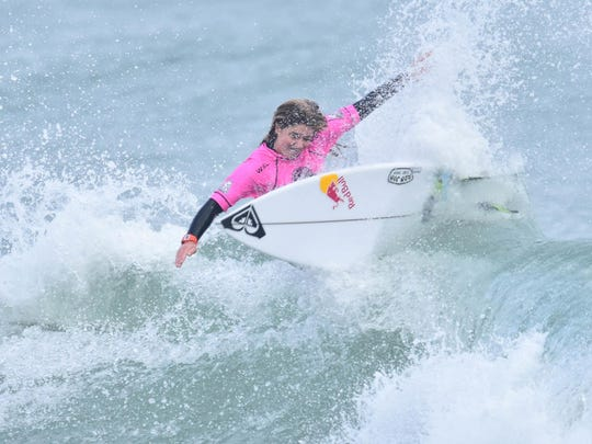 Melbourne Beach's Caroline Marks carves up a wave during