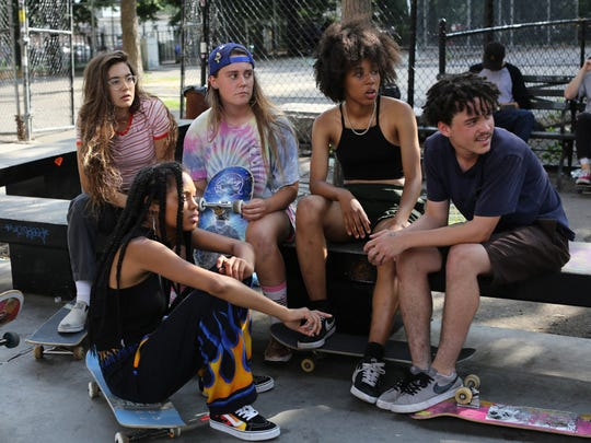 'Skate Kitchen' casts real-life skateboarders Rachelle Vinberg, left, Ajani Russell, Nina Moran, Dede Lovelace and Alex Cooper.