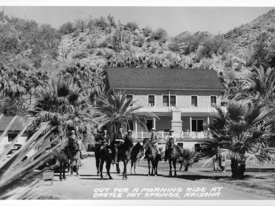 Horseback riding, captured in this early 1900s photo, will again be offered when Castle Hot Springs opens in October 2018.