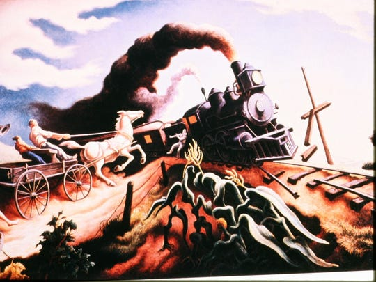 """""""The Wreck Of The Old 97,"""" one of Thomas Hart Benton's landmark paintings, done in 1944. The artist said, """"A famous folk song of the '20s. It depicts a real event. The painting was bought and distributed by Sears and Roebuck."""""""